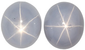 Alluring Blue Gray  Unheated  Ceylon Star Sapphires - Great Matched Pair, Oval Cut, 7.22 carats