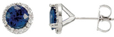 14K X1 White Blue Sapphire & 1/6 CTW Diamond Earrings