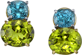 Stunning Color Combo in 18kt Yellow Gold Post Back Earrings With Oval Zircon &  Peridot Gems