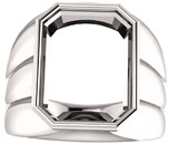 Thick Grooved Band Bezel Set Solitaire Men's Ring Mounting for Emerald Shape Centergem Sized 6.00 x 4.00 mm to 16.00 x 12.00 mm - Customize Metal, Accents or Gem Type