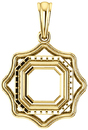 Scalloped Detail Halo Soiltaire Pendant Mounting for Asscher Centergem Sized 5.00 mm to 10.00 mm - Customize Metal, Accents or Gem Type