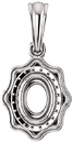 Scalloped Detail Halo Soiltaire Pendant Mounting for Oval Centergem Sized 6.00 x 4.00 mm to 16.00 x 12.00 mm - Customize Metal, Accents or Gem Type