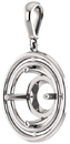 Double Framed Dangle Soiltaire Pendant Mounting for Round Centergem Sized 4.10 mm to 15.00 mm - Customize Metal, Accents or Gem Type