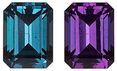 Mesmerizing Unheated Color Change Alexandrite Genuine Brazilian Gemstones - Excellent Clarity & Cut, 5.5 x 4.2 mm, Bright & Lively, Emerald Cut, 5.5 x 4.2 mm, 0.69 carats