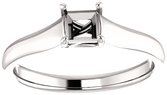 Thick Band Solitaire Ring Mounting for Square Shape Centergem Sized 4.00 mm to 10.00 mm - Customize Metal, Accents or Gem Type