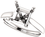 Elegant Solitaire Ring Mounting for Square Shape Centergem Sized 4.00 mm to 10.00 mm - Customize Metal, Accents or Gem Type