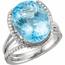 14K White Swiss Blue Topaz & 1/2 CTW Diamond Spiral Ring