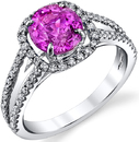 Delightful Handmade 1.86ct Round Fuschia Hot Pink Sapphire Ring in 18kt White Gold With 0.50ctw Diamond Accents