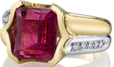 Unique 2-Tone Handmade Half Bezel Ring Featuring 6.32ct Emerald Cut Hot Pink Tourmaline - Diamond Accents
