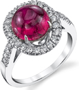 Attractive Round Shape Cabochon Bright 2.4ct Pink Tourmaline Gemstone Ring With Pave Diamonds in 18kt White Gold - Handmade