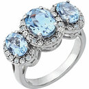 14KT White Gold Sky Blue Topaz & .04 Carat Total Weight Diamond Ring