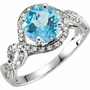 14KT White Gold Swiss Blue Topaz & 1/6 Carat Total Weight Diamond Ring