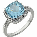 14KT White Gold Sky Blue Topaz & .03 Carat Total Weight Diamond Ring