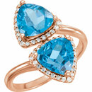 14KT Rose Gold Swiss Blue Topaz & 1/5 Carat Total Weight Diamond Ring