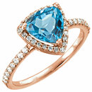 14KT Rose Gold Swiss Blue Topaz & 1/4 Carat Total Weight Diamond Ring