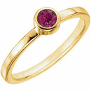 14KT Yellow Gold Pink Tourmaline Bezel Ring