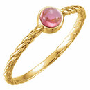 14KT Yellow Gold Pink Tourmaline Rope Design Ring
