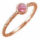 14KT Rose Gold Pink Tourmaline Rope Design Ring