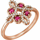 14KT Rose Gold Ruby & 1/6 Carat Total Weight Diamond Clover Ring