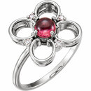 14KT White Gold Pink Tourmaline & Diamond Clover Ring