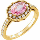 14KT Yellow Gold Baby Pink Topaz & 1/3 Carat Total Weight Diamond Ring