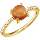 14KT Yellow Gold 7mm Round Cabochon Citrine & 1/10 Carat Total Weight Diamond Ring