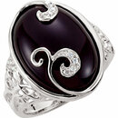 Onyx & Diamond Accented Scroll Design Ring