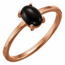 14KT Rose Gold 8x6mm Oval Onyx Cabochon Ring