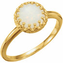 14KT Yellow Gold 8mm Round Opal Ring