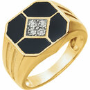14KT Yellow Gold Men's Onyx & .02 Carat Total Weight Diamond Ring