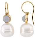 14KT White Gold 6mm Chalcedony Semi-set Earrings for Pearls
