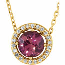 14KT Yellow Gold Pink Tourmaline & .06 Carat Total Weight Diamond 16