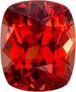 Fiery Hot Spinel Loose Gem in Cushion Cut, Awesome Color Red, 6.1 x 5.1 mm, 1.02 carats