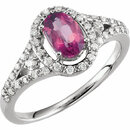 Pink Tourmaline Halo-Style Ring