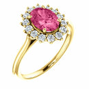 14KT Yellow Gold Pink Tourmaline & 3/8 Carat Total Weight Diamond Ring