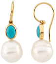 14KT Yellow Gold Turquoise & 11mm South Sea Cultured Pearl Earrings