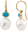 14KT White Gold 8x6mm Turquoise Semi-set Earrings for Pearls