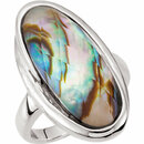 Abalone Doublet with Checkerboard White Quartz Top Ring