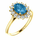 14KT Yellow Gold Swiss Blue Topaz & 3/8 Carat Total Weight Diamond Ring