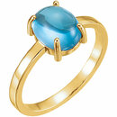 14KT Yellow Gold 9x7mm Oval Swiss Blue Topaz Cabochon Ring