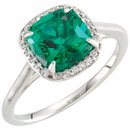 14KT White Gold Emerald & .055 Carat Total Weight Diamond Halo-Style Ring