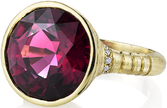 Stylish Handmade Bezel Set 12 carat Round Super Gem Pinkish Red Garnet Solitaire Ring With Diamond Accents in 18kt Yellow Satin Finish Gold - SOLD
