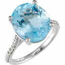 14KT White Gold Sky Blue Topaz & 1/4 Carat Total Weight Diamond Ring