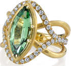 Unique Design with Large 3 carat Tsavorite Garnet and Diamond Accent 18 Karat Hand Crafted Ring - Stylish Triple Band