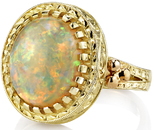 Incredible 4.3 carat Lightning Ridge Opal Ring in 18kt Yellow Gold - Unique Hand Crafted Detailing