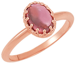14KT Rose Gold Pink Tourmaline Cabochon Ring
