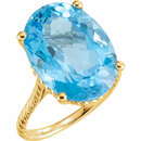 14KT Yellow Gold 18x13mm Swiss Blue Topaz Rope Ring