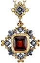Old World Style 5.55ct Cushion Shape Hessonite Garnet Hand Made Pendant With Diamond Accents - 18kt White & Yellow Gold