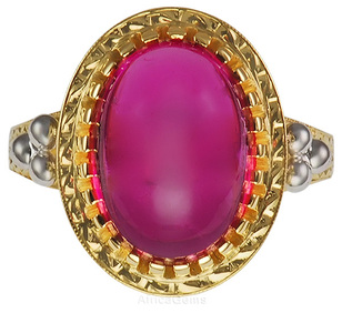 Beautiful Handmade Pink Tourmaline Cabachon Ring in 18kt Gold - SOLD