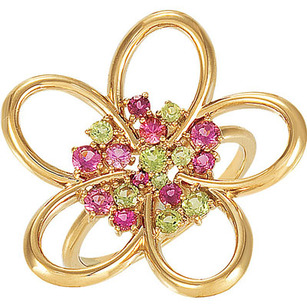 Dazzling Modern Style 14k Yellow Gold Flower Ring With a Center of Peridot and Pink Tourmaline Gems - Feminine and Chic